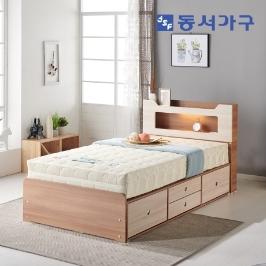 [더싸다특가] 동서가구 아키 LED 4서랍 SS/Q 침대 시리즈! LED침대/서랍침대/슈퍼싱글/퀸
