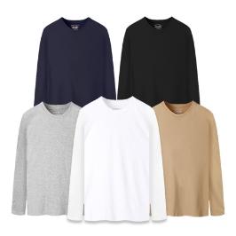[투데이특가] 25%쿠폰+베이직 순면 긴팔 U넥 티셔츠 120 빅사이즈까지 기본 무지티/4계절 필수아이템!