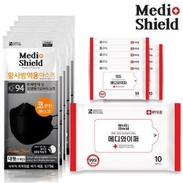 한정수량 1000세트/ 메디쉴드 KF94 마스크 5매 + 99.9% 살균 휴대용 손소독티슈 10매 10팩 증정