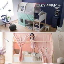 [레이디가구] 스칸딕 양면형 어린이 원목이층침대/벙커형/캐노피텐트침대