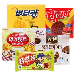 인기 대용량 파이 모음/몽쉘 카카오케이크 384g(대용량) 2개+몽쉘 크림 케이크 384g 1개