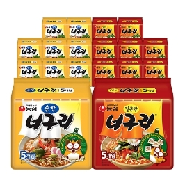 [원더배송] [무료배송] 농심 너구리 40봉 얼큰한맛&순한맛