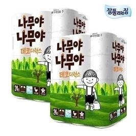 [투데이특가] 나무야나무야 데코디럭스 화장지 25m 24롤 X2팩