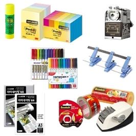 [더싸다특가] 3M 포스트잇(656-5A)/테이프(#522D), 모나미 매직/네임펜(12색세트), 라미에이스 코팅지 등