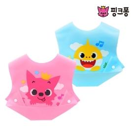 [투데이특가] 핑크퐁 접이식 턱받이 & 실리콘 샤워솔 #상어가족