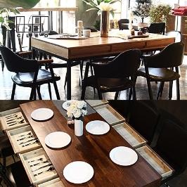 끌레오 2인용~8인용 식탁세트 원목식탁 서랍식탁 원목테이블 4인용식탁 멀바우식탁 6인용식탁 2인용식탁 테이블 카페테이블