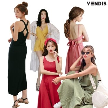 벤디스 여성 롱 여름원피스 비치원피스 드레스 쉬폰 데일리룩 바캉스 비키니 비치웨어 예쁜 미니 홀터넥 오프숄더 원피스
