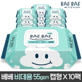 BAEBAE 베베 아기물티슈 55gsm 비데용 30매 캡형 10팩 / 20팩 /  휴대용 / 비데용
