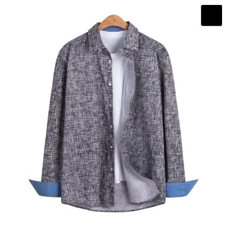 [모니즈] 배색 소매 스크레치 셔츠 SHT225