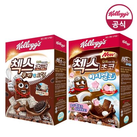 [켈로그] 켈로그 오곡 첵스초코 쿠키 앤 크림 340g+오곡 첵스초코 마시멜로 400g+(증정)대화응원팩