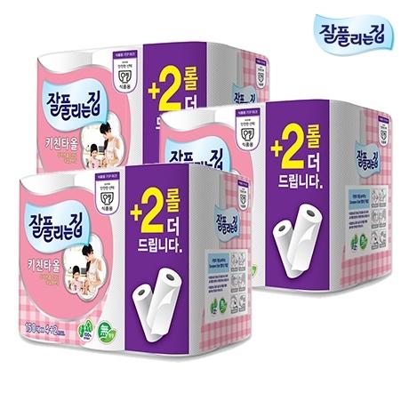 [원더배송] [MD추천] 잘풀리는집 키친타올 150매 4+2입 X3팩 (총18롤)