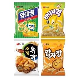 [슈퍼투데이특가] 농심 양바조감 과자 12봉 (양파링 3봉+바나나킥3봉+조청유과3봉+감자깡3봉)
