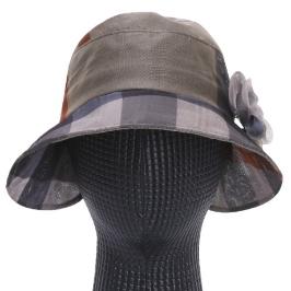 [AK몰] [파파브로]가볍고 시원한 여성 여름모자 체크 코사지 망사 벙거지 모자 KM-WH0141-베이지