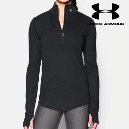 언더아머 스트리커 하프 집업 블랙 여성 운동복 티셔츠