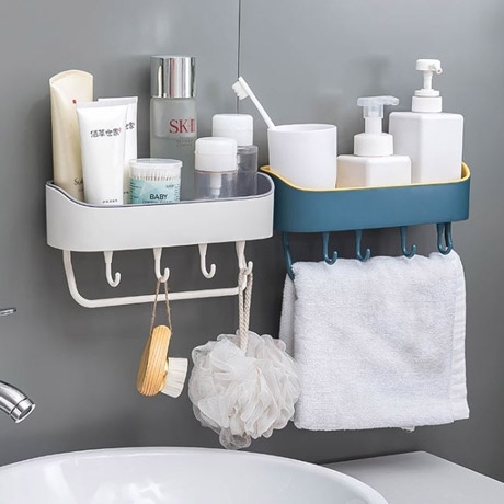간편설치 욕실선반 소품수납 정리함 수건걸이 부착식
