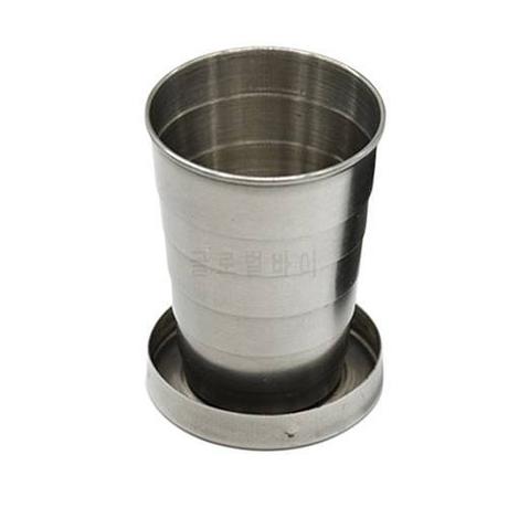 [해외] 새로운 1PCS 75ml 스테인레스 스틸 접는 컵 여행 도구 키트 생존/2072166