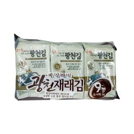 [싸고빠르다] 참기름으로 구워 더욱 고소한 광천김 5g*9봉