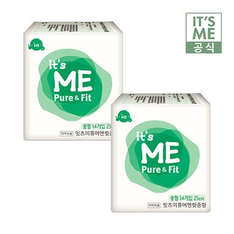 한정수량 3,000개/<특가> [IT'S ME] 잇츠미 퓨어앤핏 생리대 중형 14p x 2팩