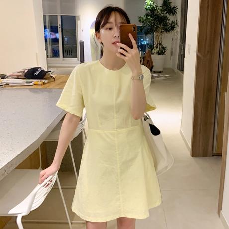 [업타운홀릭] 레몬 핀턱 ops (3color) [린넨원피스/반팔원피스/A라인원피스/캐주얼]