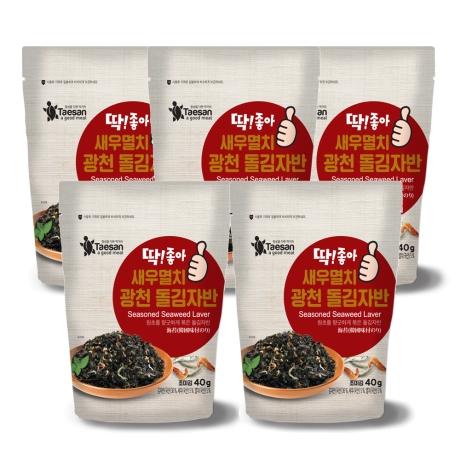 딱좋아 새우멸치 광천돌김자반  40gX5봉(두개이상구매시 사은품 자반1봉증정)