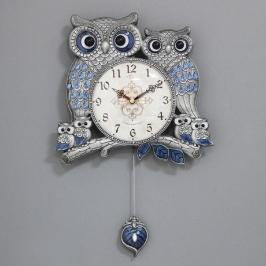 [바보사랑](kspz300)저소음 잉꼬부엉이 추 시계(주석)