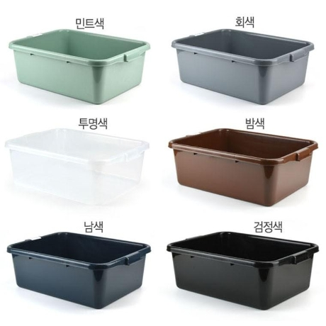 고강도 박스형 설거지통 잔반통 식기수거함 1p (투명색)