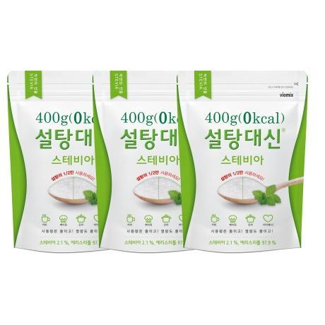 설탕대신 효소처리 스테비아 알룰로스 에리스리톨 당뇨 비정제 설탕 원당 400g x 3개 묶음