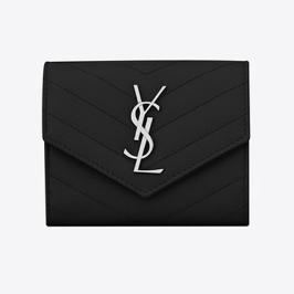 [입생로랑] [해외배송] 생로랑 모노그램 컴팩트 트라이폴드 반지갑