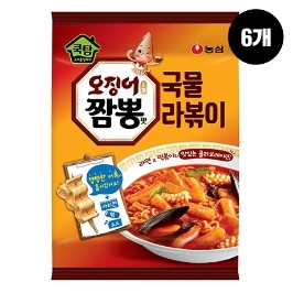 [원더배송] 농심 쿡탐오징어짬뽕맛국물라볶이 380g 6개