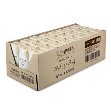상하목장 유기농 흰우유 125ml 24팩 이중포장 멸균우유