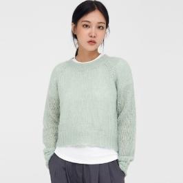 (에이인)ben round mohair crop knit