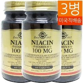 [솔가] [해외배송] 3병 솔가 니아신 Niacin 100mg 100정
