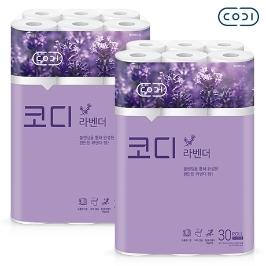 [원더배송] 코디 라벤다 3겹 30m 30롤 화장지 2팩