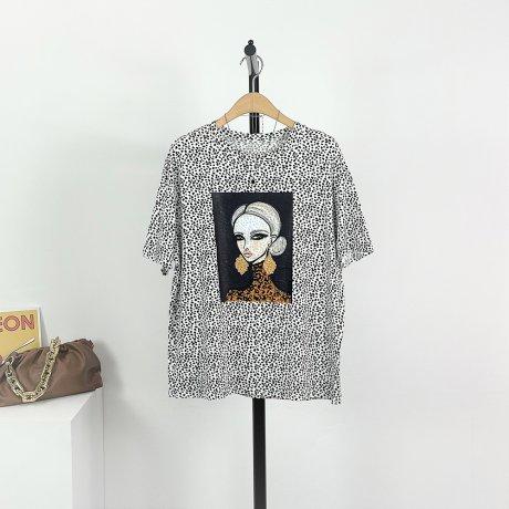 우먼 호피 찰랑 반팔 티셔츠(1color)