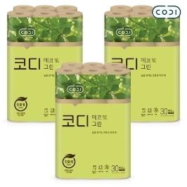 [원더배송] 코디 에코그린 30m 30롤 3팩 화장지/친환경특허 획득