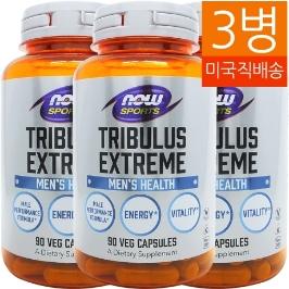 [해외배송] 3병 나우푸드 스포츠 트리뷸러스 익스트림 Tribulus 1000mg 90베지캡__