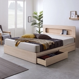 LED수납형 더블 침대 + 9존독립 화이트 매트리스