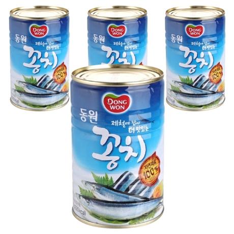 동원 꽁치 통조림 400g, 4개