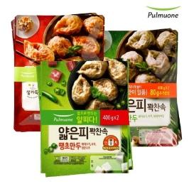 AK몰_[풀무원] 얇은피꽉찬속 만두 김치2봉+고기2봉+땡초2봉