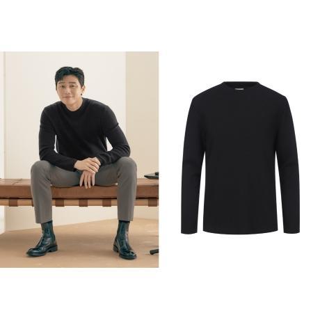 [지오지아] 하프 모크넥 데일리 티셔츠 블랙 ADA4TR1901
