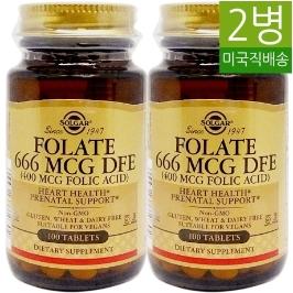 [솔가] [해외배송]2병 솔가 엽산 Folic Acid 400mcg100정