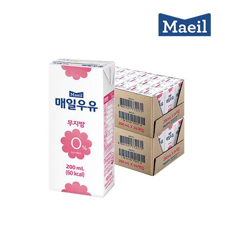 매일 멸균 흰우유 무지방0% 200mlX48팩
