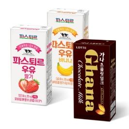 [투데이특가] 1일 1팩! 파스퇴르 바나나 우유 190ml 24팩 외 딸기,가나초코 / 검은콩 검은참깨 칼슘두유 190ml 32팩