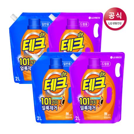 테크 101가지 얼룩제거 액체 세제 리필 2L x4개 (2종 택1)