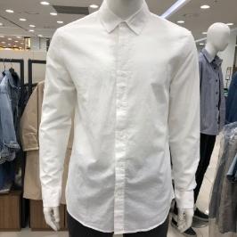 [모다아울렛] 닉스 남 코튼린넨 솔리드 셔츠(레귤러핏)NNECSL101-W