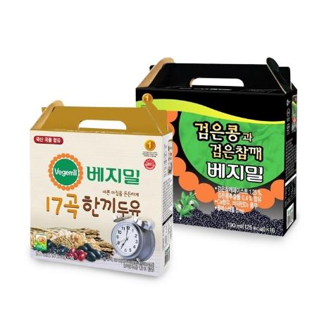 [베지밀] 베지밀 검은콩과검은참깨 1박스+17곡 한끼두유 1박스 (총 32입)
