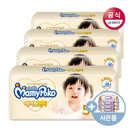 [마미포코]에어핏 팬티 기저귀 /특대형 여아 28매 4팩(1박스) +온리 7 물티슈 3팩