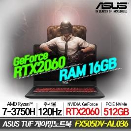 ASUS TUF 게이밍노트북 FX505DV-AL036 라이젠7/NVMe 512GB/16GB