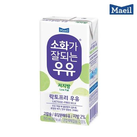 매일유업 매일우유 소화가 잘되는 우유 저지방 190ml 48팩