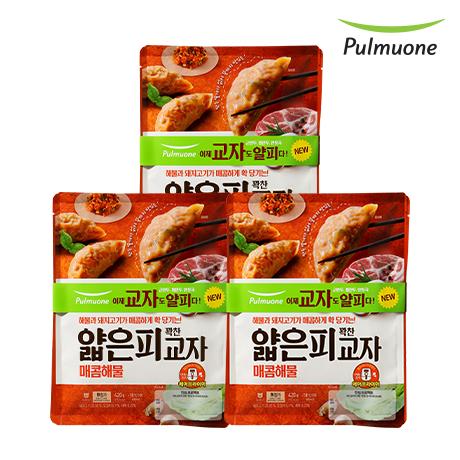 [풀무원]얇은피꽉찬속 교자만두 매콤해물(420gx2봉) X 3 (총 6봉)